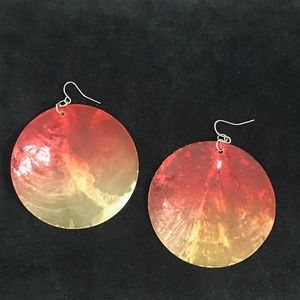 red and yellow shell earings